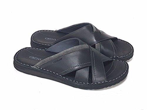 GRUNLAND - Zapatillas de estar por casa de Piel para hombre negro negro