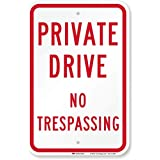 "SmartSign 3M High Intensity Grade Reflective Sign, Legend""Private Drive No Trespassing"", 18"" High X 12"" Wide, Red on White"