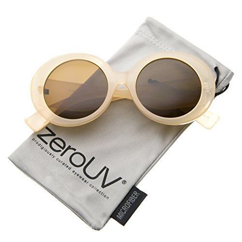 zeroUV - Womens High Fashion Glam Chunky Round Oversize Sunglasses 50mm (Nude / - Nude And Round Brown