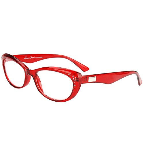LianSan Fashion Brand Women Reading Glasses Cat Eye Reading Eyeglasses with Rhinestones L3705X (+3.50, red)
