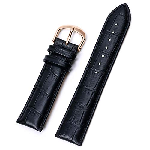 16mm Leather Watch Bands,EACHE Classical Croco Grain Cowhide Watchbands for Women in Black 16mm with Rose Gold - Watch Croco Band Grain