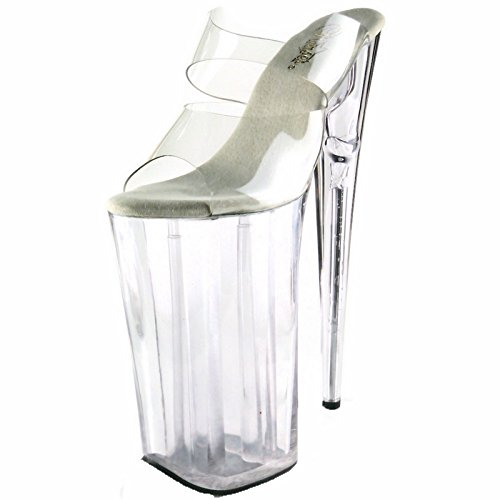 Heel Two Band Platform Slide (Pleaser 10 Inch Heel, 6 1/4 Inch Platform Two-Band Slide (Clear/Clear;7))