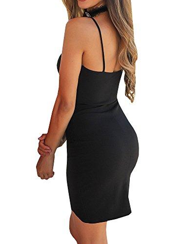 GAMISOTE Bodycon Neck Sleeveless V Deep A Womens Sexy Spaghetti Dresses Strap Black r7qwr0UY