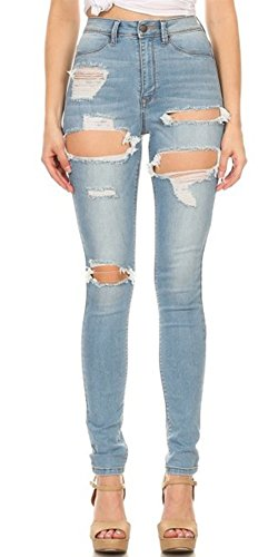 Monotiques Womens Ripped Distressed Skinny