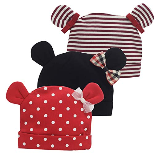 Newborn Beanie Baby Hats 0-6 Months 6-12 Months Girl Bow Caps Hospital Beanie Set (Black,Red,Stripe Cat Ear Hats, 1-6 Months) ()