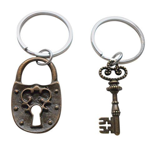 Bronze Scroll Lock and Key Keychain Set - You've Got the Key to My Heart; Couples Keychain Set