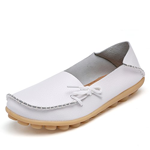 White2 Fashion Loafers Wild Leather Women's Round brand Flats Toe Shoes Casual Moccasins best show Driving Breathable rPXxZnr