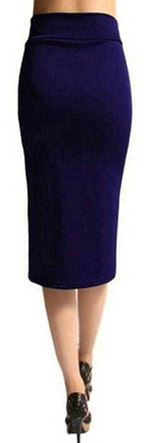 MJY Moda Lápiz para mujer Flaco Sólido Cintura alta Faldas medias ...