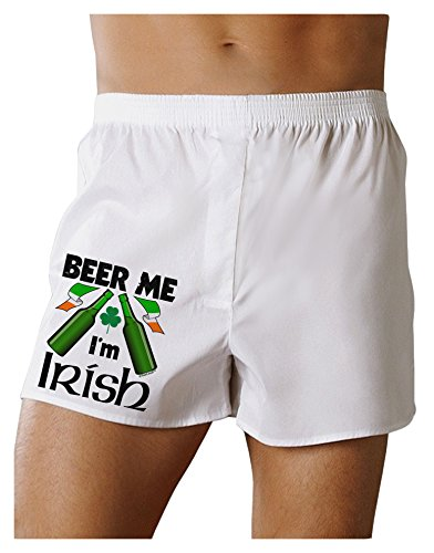 TooLoud Beer Me I'm Irish Boxers Shorts - White - 2XL