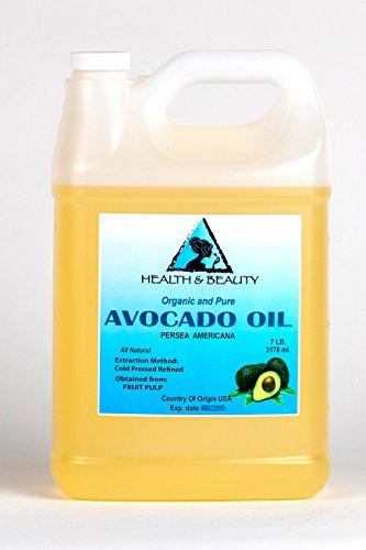 Avocado Oil Refined Organic Cold Pressed Premium Fresh 100 Pure 128 oz, 7 LB, 1 gal