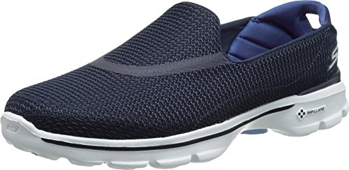 Skechers Performance Women's Go Walk 3 Slip-On Walking Shoe, Navy/White, 9 M US (Ladies Sketcher Sneakers)