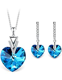 """""""My Destiny"""" Swarovski Elements Crystal Heart Necklace and Earrings Fashion Jewelry Sets for Women Love Gift"""