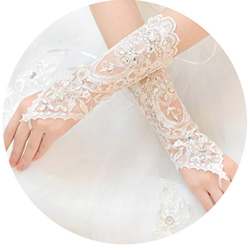 (CanB Women's Wedding Lace Fingerless Crystals Gloves for Wedding Party Prom Brides)