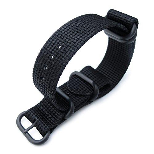 MiLTAT-22mm-5-Rings-G10-Zulu-Water-Repellent-3D-Nylon-Watch-Band-Matte-Black-PVD-Black
