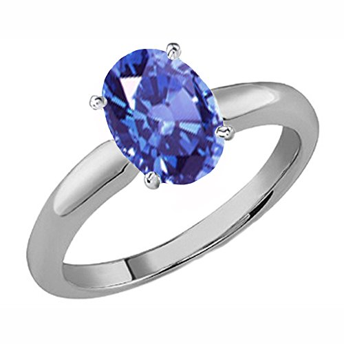 Dazzlingrock Collection 14K 6X4 MM Oval Cut Tanzanite Ladies Solitaire Bridal Engagement Ring, White Gold, Size 5.5 ()