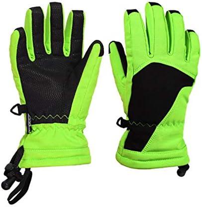 手袋 日常 実用 子供たちの子供冬の雪ウォーム手袋スキースノーボード手袋6-12歳のための風邪、ペア、9インチ (Color : Green, Size : M/L)