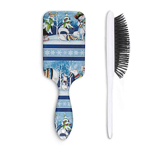 Repeating Stripe - Chal Hoiy Boar Bristle Paddle Hairbrush Snowy Friends Repeating Stripe-01 Cushion Hair Brush for Straightening, Styling & Drying, Designed for Women Men Kids Girls