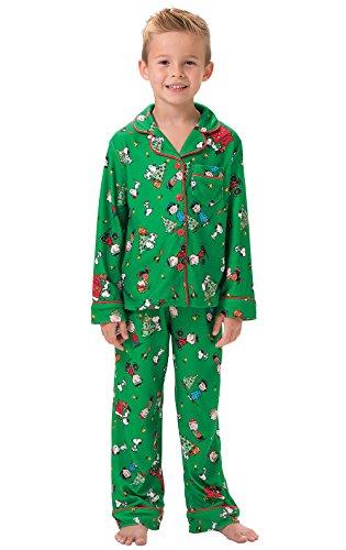 PajamaGram Big Boys Christmas Pajamas - Charlie Brown Christmas, Green