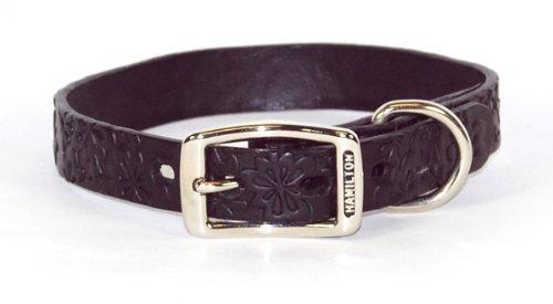 """Hamilton Leather Dog Collar 1"""" x 24"""" Floral Daisy Leather Collar - Black"""