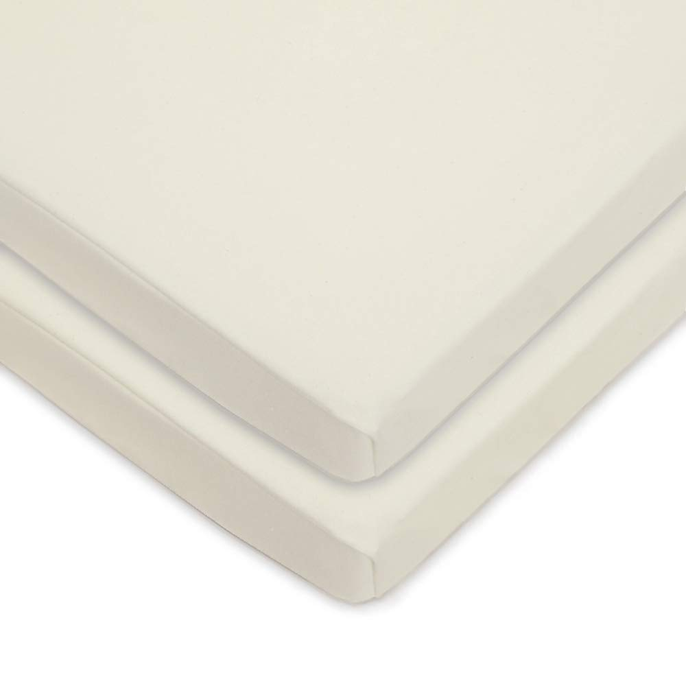 American Baby Company Twin Pack Knit Fitted Natural Color Sheet Made with Organic Cotton, Cradle