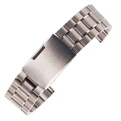 23mm Anti Allergic SS Watch Strap Wristband for Men Silver Solid INOX Steel Brushed Finish Straight End by autulet