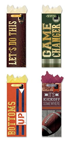 Congratulations Gift Tag (Game Time! Wine Bottle Party Gift Bags Set of 4 Large Game Time, Sports Event, Congratulations, Paper Gift Bags W/ Foil, Tags and Tissue Paper)