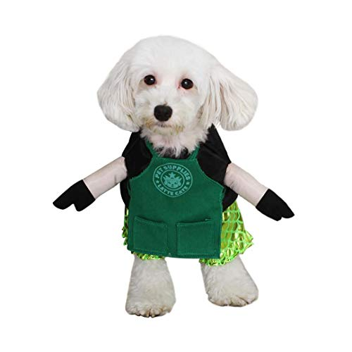 FOMATE Dog Costume, Doggie Cosplay hat and Hair Accessories and Toy for Party and Events (Mermaid & Cafe Barista Apron Uniform S) ()