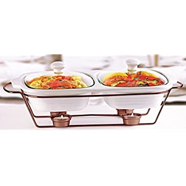 Circleware Ceramic Chafer Double Buffet Server/warmer/baker Serving Tray with Glass Lid and Copper Plated Serving Stand, 2 Quart,16 w x 9.75 D x 5 H , Serveware Cookware Bakeware