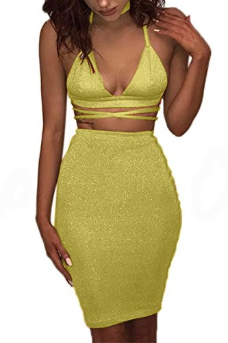- ioiom Plus Size Sexy Outfits for Women for Going Out Chic Sequin Bodycon Dress Lemon Yellow Large