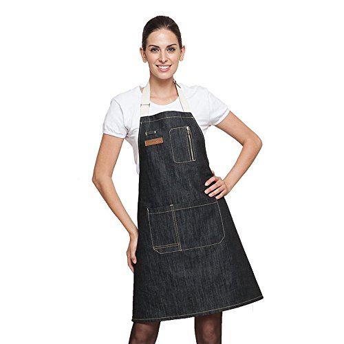 AINOLWAY Stylish Denim Apron with Pockets Korean Style Jean Apron for Man Kitchen Cooking 24.4''L X 23.6''W BLACK by AINOLWAY (Image #1)