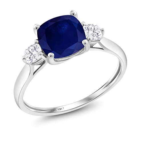 Sapphire Ring Accent (10K White Gold Solitaire w/Accent Stones Ring Cushion Blue Sapphire and Timeless Brilliant Created Moissanite (IJK) 0.26ct (DEW) (Size 8))