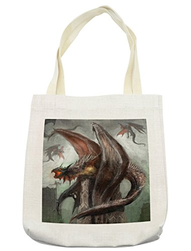 Reptilian Cream - Lunarable Fantasy World Tote Bag, Mythical Dragons Fire-Spewing Reptilian Serpent Beast Animal Monster, Cloth Linen Reusable Bag for Shopping Groceries Books Beach Travel & More, Cream