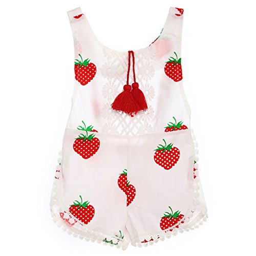MIOIM Newborn Baby Infant Girls Sleeveless Tassles Fruit Printed Romper Sumsuit Outfits0-3Y