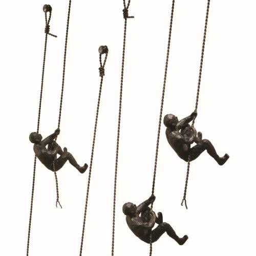 My Swanky Home Metal Iron Climbing Man Wall Sculpture Set 3 | Hanging Climber Modern ()