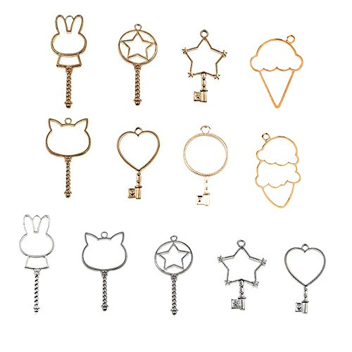 Key Open Bezel, DyAiPet 13Pcs Magic Wand Open Bezel Charm, Blank Frame Pendant for UV Resin Crafts, DIY Jewelry Making (Silver & Gold) -