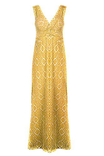 G2 Chic Women's Paradise Printed Patterned Holiday Casual Floral Dress(DRS-MAX,YELA4-XL) (G2 Chic Maxi Dress)