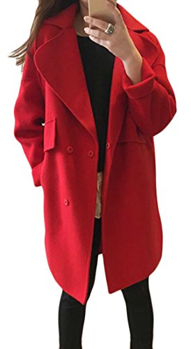 FLCH+YIGE Women's Trim-Fit Korea Notch Collar Woolen Wrap Coat Trench Coat Red XS
