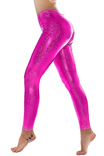 PINKPHOENIXFLY Womens Sexy Shiny Faux Leather Leggings Pants (M, PF9109 Rose) (80s Spandex Leggings)