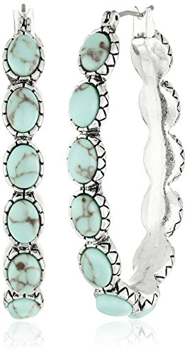 Best deals Lucky Brand Silver-Tone and Faux Turquoise Hoop Earrings