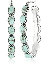 Womens Oblong Turquoise Inlay Hoop Earring