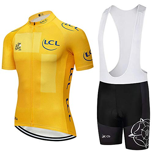 Cycling Jerseys Men's Short Sleeve and Bib Shorts Set Bicycle Jersey Summer Breathable Jersey V375 (W, L)