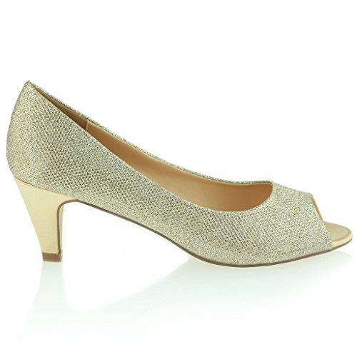 Mujer Señoras Noche Fiesta Boda Prom Peeptoe Femenino Trémulo Tacón Medio Sandalias Zapatos Talla Oro