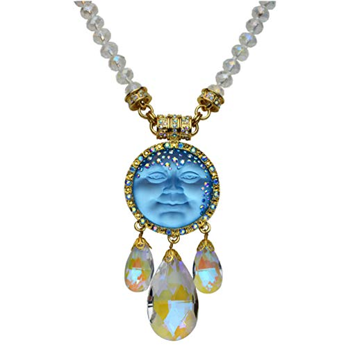 (Kirks Folly Crystal Goddess 35mm Seaview Moon Interchangeable Magnetic Necklace Sky Blue/Goldtone)