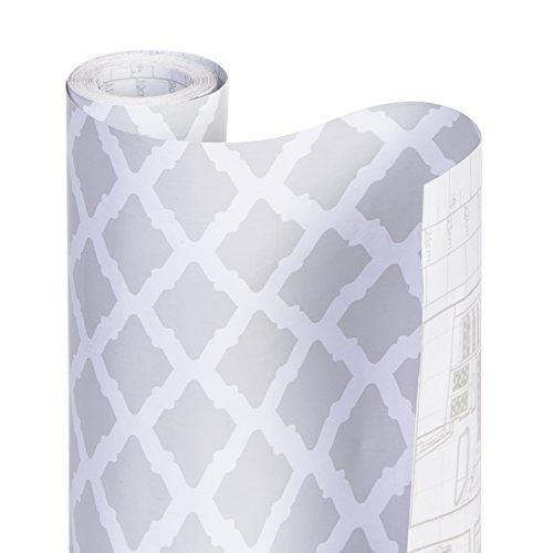 DAZZ 8607207 Metro Gray Lattice Adhesive Decorative Shelf (Decorative Shelf Liner)