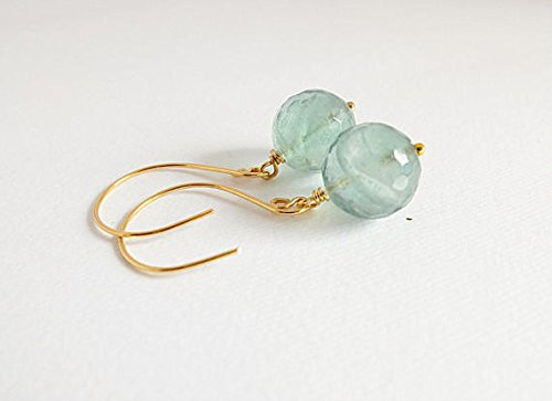 - A handmade pair of green Flourite drop earrings. green flourite gemstone bead wire wrapped in gold filled wire , drop large flourite 13 mm