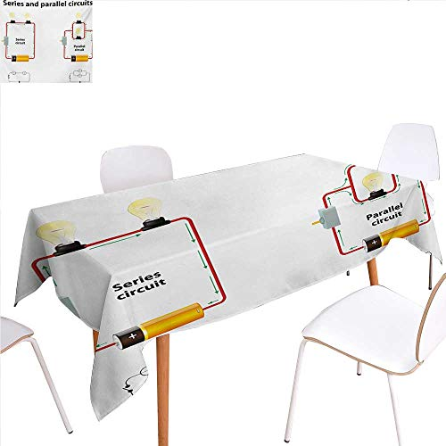 familytaste Educational Dinner Picnic Table ClothSeries and Parallel Circuits Voltage Electric Science Equipment Print Waterproof Table Cover for Kitchen 60