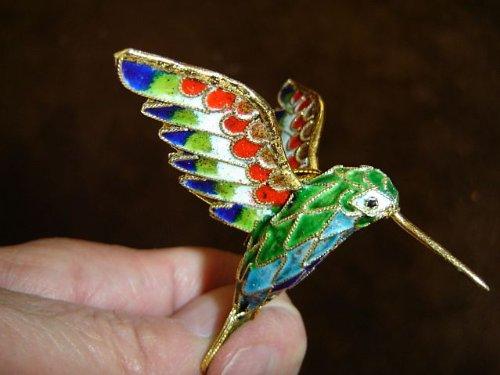 Cloisonné hummingbird Christmas ornament red green blue