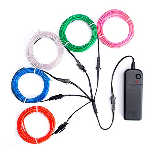 TICOZE EL Wire Neon Lights Blue White Pink Red Green, 5 by 1-Meter (1m/3ft) El Wire Kit with Battery Pack for DIY Party Halloween -