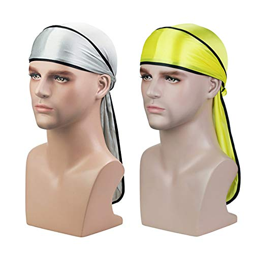 Silky Soft Durag (2PCS) with Extra Long Tail and Wide Straps Headwrap Du-Rag for 360 Waves,Free Size,Silver Black+yellow Black