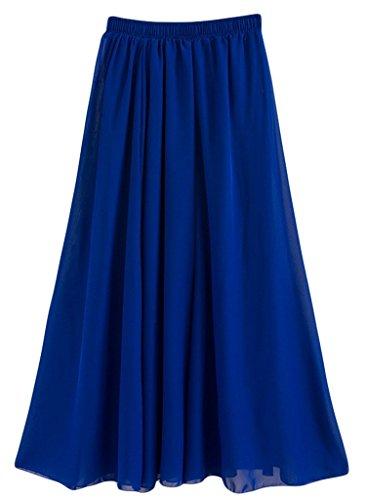 de amayar longue soie femmes de Blue2 Maxi jupe mousseline Royal rwTx6tnx